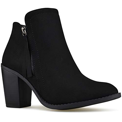 Premier Standard - Women's Elastic Side Panel Ankle Bootie - Comfortable Closed Toe Shoe - Low Heel Casual Comfortable Walking Boot, TPS Booties- Evah Cognac Size 7