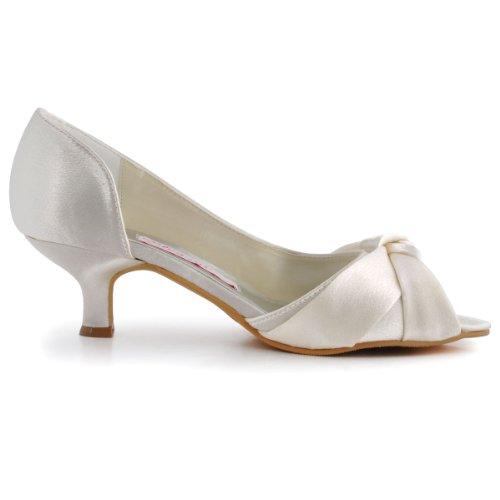 ElegantPark 1201D Mujer Mini tacón Fiesta Zapatillas Peep Toe Nudo Satén Nupcial Zapatos De Boda Ivoire