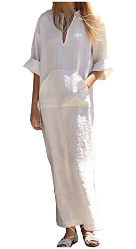 Neck Pockets Coolred V Women White Long Autumn Loose Dress Commute Split Solid Sleeve wTIrTzgq