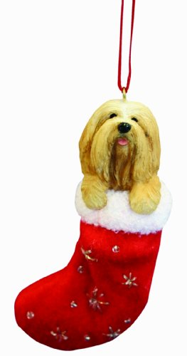 "Lhasa Apso Christmas Stocking Ornament with ""Santa's Little Pals"" Hand Painted and Stitched Detail"
