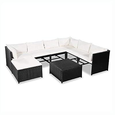HomyDelight Outdoor Furniture Set, Garden Sofa Set 24 Pieces Poly Rattan Black and Cream White