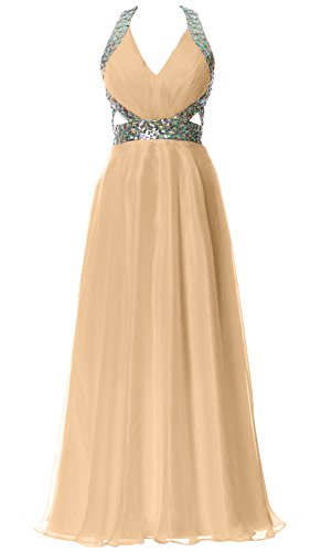 MACloth Women Halter V Neck Long Homecoming Dress Wedding Party Formal Ball Gown Champagne