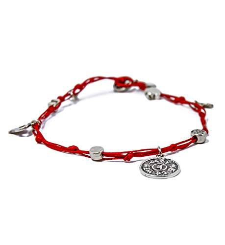 MIZZE Made for Luck Handmade Prosperity King Solomon Seal Charms Ankle Bracelet in Red
