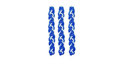 Set of 3 Blue and White Braided Havdalah Wax Candle