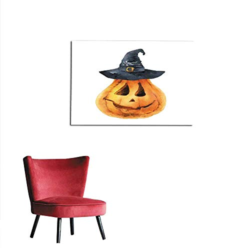 Painting Post Bright Orange Pumpkin Isolated on White Background Symbol of Holiday Halloween Mural 36