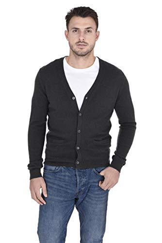 Cashmeren Men's 100% Pure Cashmere Classic Knit Soft Button Front Long Sleeve Cardigan Sweater (Charcoal, Large)