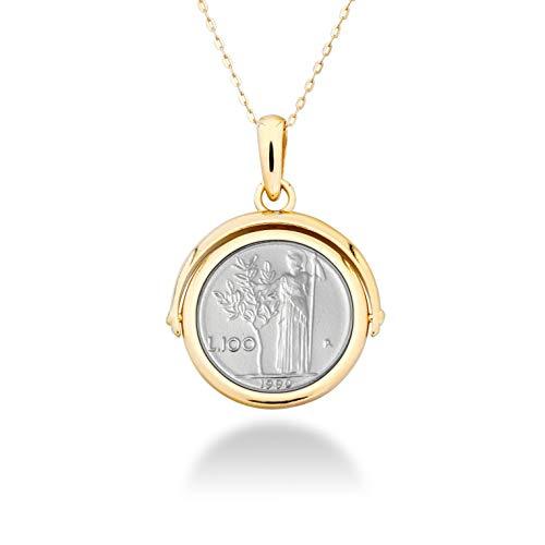 MiaBella 18K Gold Over Sterling Silver Italian Genuine 100 Lira Coin Flip Pendant with Adjustable Cable Bolo Chain Necklace 24 inch