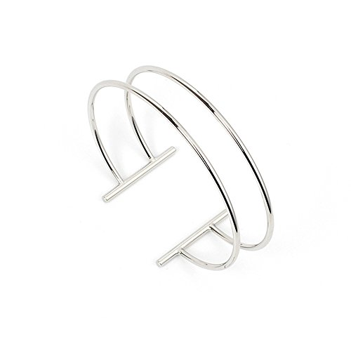 Dwcly Double Layer Hollow Geometry Simple Expandable Wire Cuff Bangle Bracelet All-Match Wrist Jewelry (Silver) (Cuff Wire)