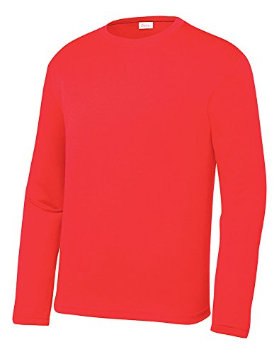 OPNA Youth Athletic Performance Long Sleeve Shirts for Boys or Girls  Moisture Wicking,Hot Coral,Small