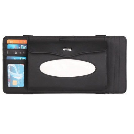 Besplore Luxury Leather 4 in One Multifunctional Car Sun Visor Accessories with Napkin Tissue Box CD Case Pen Card Holder Visor Organizer,Black