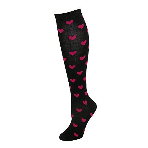 Print Knee High Socks (CTM Women's Heart Print Knee High Socks, Black)