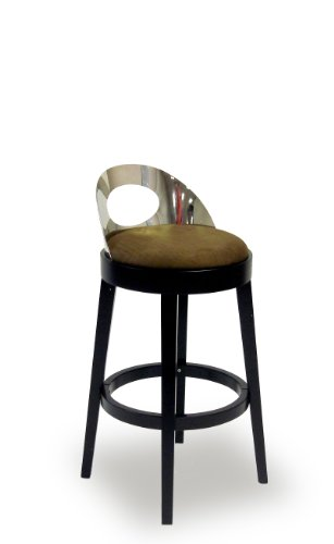 Vista Stationary Barstool Brown Microfiber/30 Inch