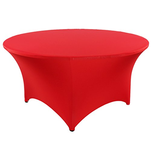 banquetbay 5FT(60inch) 6FT(72inch) poly spandex stretch round floding tablecloth table covers (6FT, red)