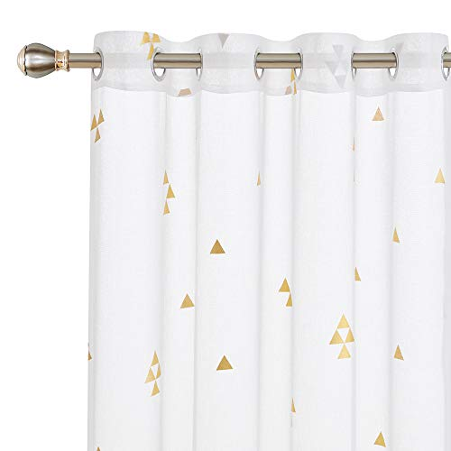 - Deconovo Decorative White Sheer Curtains Foil Gold Triangle Pattern Curtains Linen Look Volie Sheer Window Curtain 54W x 108L White 2 Panels