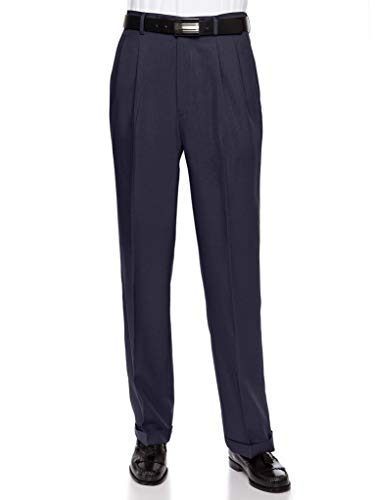 RGM Men's Pleated Dress Pants Work to Weekend - Comfortable and Lightweight Navy 42 Short