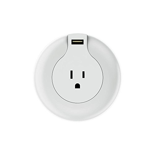MAX Smart Home MAX-NL-S1A Round Nightlight with AC Outlet and USB - Outlet Stores Lighthouse