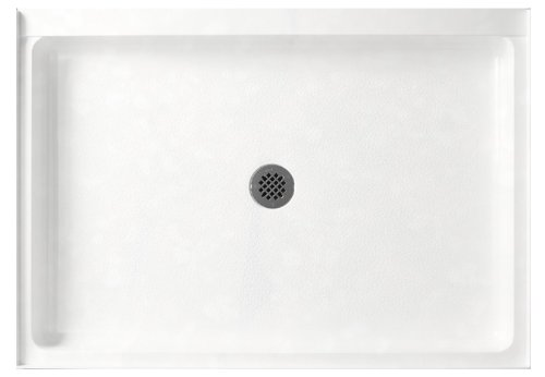 Swanstone SF03248MD.011 Solid Surface Center Drain Shower Base, 48-in L X 32-in H X 5.5-in H, Tahiti White (Fiberglass Swanstone Shower)