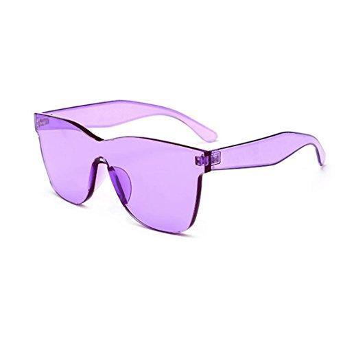 Franterd Sports Outdoor Sunglasses Eyewear- Integrated UV Glasses Sunglasses - Quadrate Shades Sunglasses - Transparent Candy Color Photo props Unisex Sunglasses (Purple)
