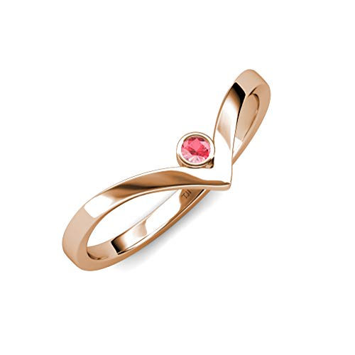 TriJewels Round Pink Tourmaline Womens Solitaire Bezel Set Chevron Promise Ring 0.08 ct 14K Rose Gold.size 4.5