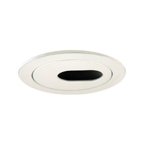 Jesco Lighting TM403WH 4-Inch Aperture Low Voltage Trim Recessed Light, Adjustable 2-Piece Oval Slot Aperture, White Finish - Slot Aperture Recessed Light Trim