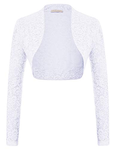Belle Poque Women's Long Sleeve Floral Lace Shrug Bolero Cardigan JS49