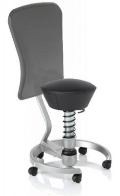 Aeris Swopper Classic - Bezug: Leder / Schwarz | Polsterung: Standard | Fußring: Titan | Spezial-Rollen für Teppichböden | mit Lehne und grauem Microfaser-Lehnenbezug | Körpergewicht: SMALL