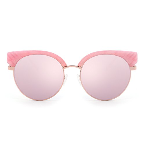 Mirror Clubmaster Sunglasses Browline Half Frame Gradient Eyeglasses Men Women (Pink / - Frames Hot Eyeglass Pink