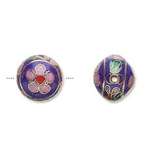 4 Gold Plated Copper Cobalt Blue Cloisonne Round Beads / 13X12Mm