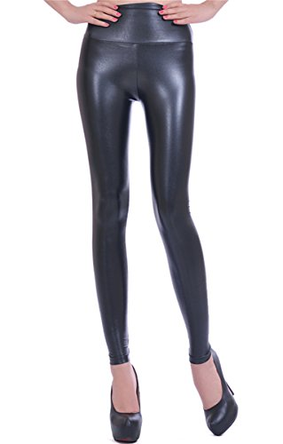 Zando SEXY Womens Girls Solid Leather Stretch Multi Color High Waisted Leggings Shiny Black X-Large