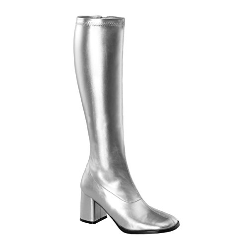 Womens Silver Boot Knee High GoGo Boots 3 Inch Block Heel Stretch Costumes Shoe Size: 10