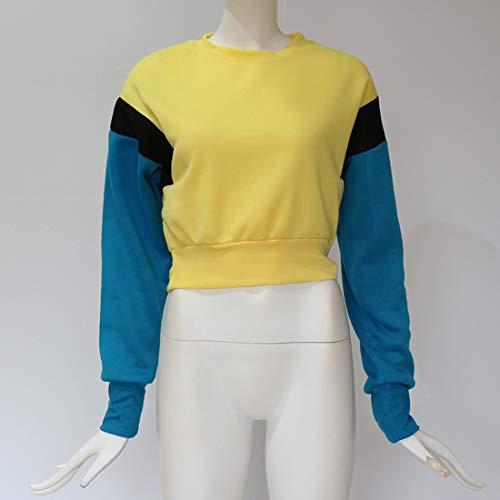 Pullover Sweaters Jaune Printemps Rond Tops Crop Chandail Pulls Fashion Femme Patchwork Blouse Shirts Jumper Longues Sweat Col Manches Automne Haut xCqfBZ