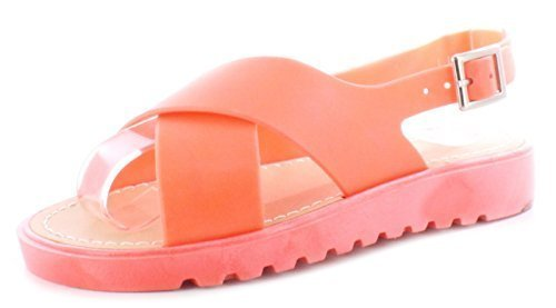 New Girls / Kinder Zitrone Flexi Ober & Flexi Sohle Mode Gelee Schuhe - korallenrot - UK Größen 1-13