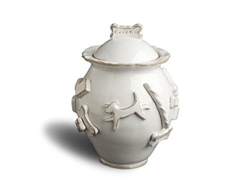 Carmel Ceramica PDJW3010 French White Dog Treat Jar