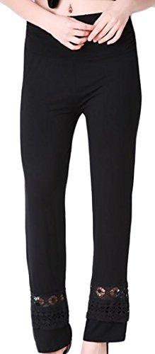 Ruched Wide Leg Gaucho (Papijam Womens Fashion Elastic Waist Lace Hollow Ruched Wide Leg Pants Black L)