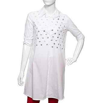 Parkhande White Cotton Shirt Neck Blouse For Women