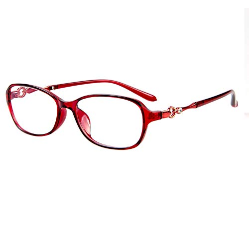 CAOXN Ms. Computer Mobile Phone Reading Glasses Blue Blocking Glasses, Stylish Ultra-Light TR90 Glasses Frame Reader HD Lens - Radiation Protection +1.0 to +3.0,Red,+2.25