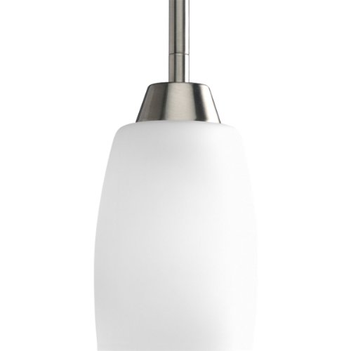 Progress Lighting P5108-09 1-Light Mini-Pendant with Etched Glass, Brushed Nickel