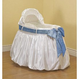 BabyDoll A Gift for You Bassinet Liner/Skirt and Hood, Blue Sash, 17 ''x 31''