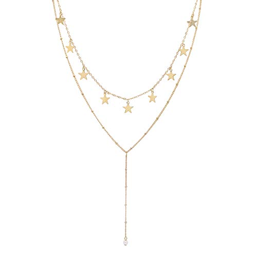 So Pretty Layered Gold Star Choker Necklace Handmade Simple Pearl Pendant Y Necklaces Set for Women