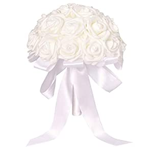 Juvale White Rose Bridal Wedding Bridesmaid Bouquet with Artificial Flowers, 8.5 x 10.5 Inches 21