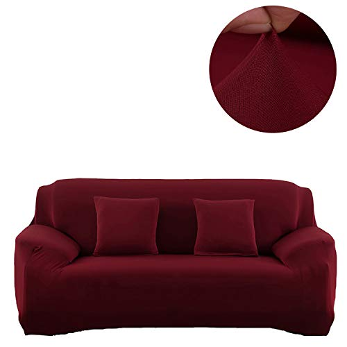 Couch Loveseat Chair Slipcover Cover Polyester Spandex Living Room Sofas Furniture Stretch Slip Covers Shield Protector (Sofa, Wine red) ()