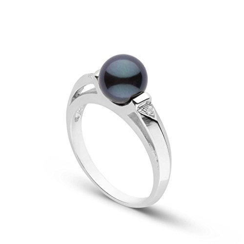 (Nimue Collection Black Akoya Cultured Pearl and Diamond Ring 14K White Gold / 7)