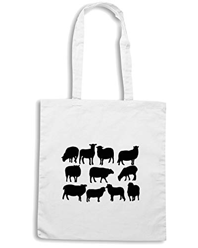 Speed Shirt Borsa Shopper Bianca WES0581 COUNTING SHEEP SILHOUETTE