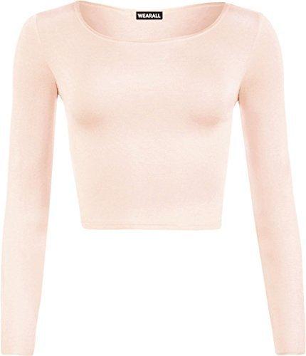 6bfb469eace6 Malaika New Girl Women Ladies Plain Full Long Sleeve Round Scoop Neck Slim  Fit Skinny Short Mini Crop Top Shirt Size S/M M/L 8 10 12 14