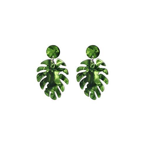 - Acrylic Tropical Monstera Leaf Earrings