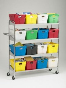 Charnstrom Extra Long Four Shelf Mobile 16 Bin Cart (B162) by Charnstrom