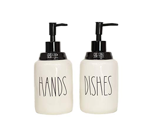 Cam n Honey Farmhouse Style Ceramic Dishes and Hands Liquid Soap Dispenser Set - Perfect for Kitchen Counter Décor (14oz, White Bottles with Black Pump and Lettering)