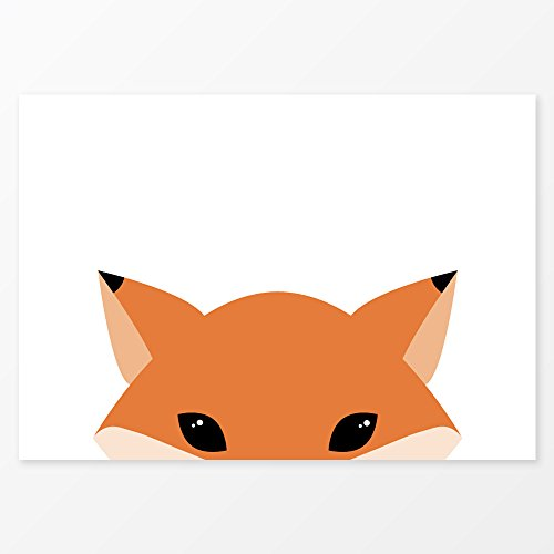 Red Fox Print, Size A3, 200 gsm Poster Paper, Frameless, Woodland Animals Wall Art, Forest Themed (Halloween Date Usa)