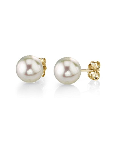 THE PEARL SOURCE 18K Gold 7.5-8mm Round White Akoya Cultured Pearl Stud Earrings for Women