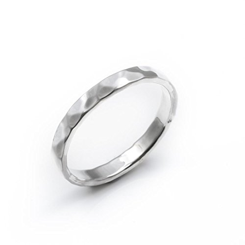 Silverly Women's .925 Sterling Silver Hammered Finished 3mm Band Ring